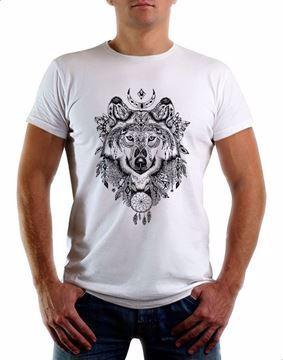 صورة تي شيرت فانتسي ورلد ذئب رمادي للرجال من ارت وير - ابيض