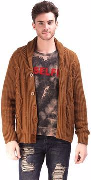 Picture of Ravin Brown Cotton Cardigan For Men
