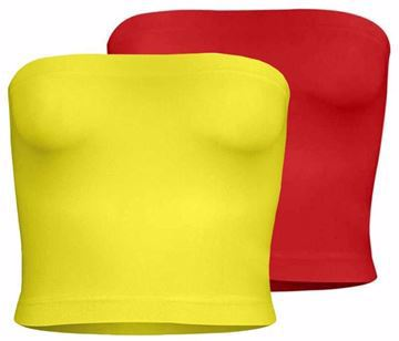 Picture of Silvy Set Of 2 Tube Tops For Women - Yellow / Red, 2 X-Large