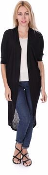 Picture of Twist Long Cardigan For Women- Black