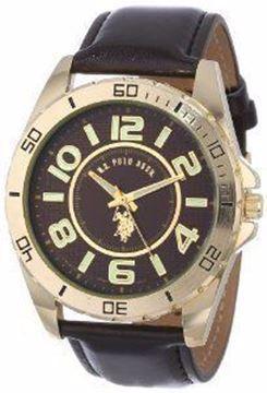 صورة U.S. Polo Assn. Classic Mens USC50012 Analogue Brown Dial Leather Strap Watch
