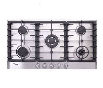 Picture of I-Cook BH5090S-8-IS Gas Built-In Hob- 5 Burners, Stainless Steel, 90 Cm