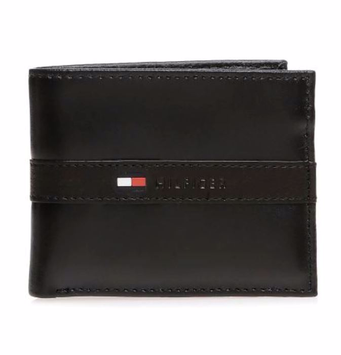 صورة Tommy Hilfiger Leather Men's Wallet Ranger Passcase, Black