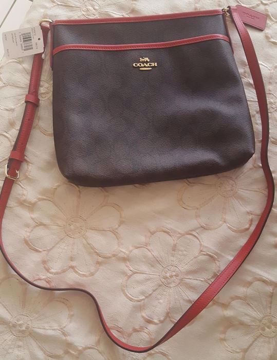 Picture of Coach File Signature Khaki Light Red Cross Body Bag