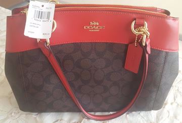 صورة Coach Signature City Zip Tote Bag Handbag In Brown & Hot Red