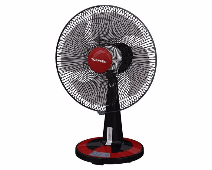 Picture of TORNADO Desk Fan 16 Inch With 4 Plastic Blades and 3 Speeds In Black x Red Color TDF16D