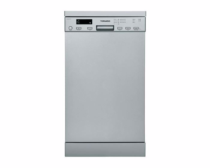 Picture of TORNADO Dishwasher For 10 Persons 45 cm In Silver Color With Digit Display and 7 Programs DWS-B10DTT-S