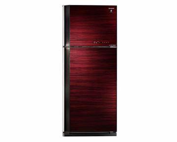 صورة ثلاجة شارب انفرتر ديجيتال نوفروست سعة 450 لتر ، 2 باب زجاجي لون أحمر مزودة بتكنولوجيا البلازما كلاستر SJ-GV58A(RD)