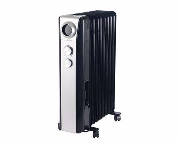 Picture of TORNADO Oil Heater 9 Fins, 2000 Watt For 20 meter In Black x Silver Color with 3 Heating Settings TOH-9