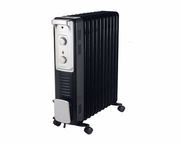 Picture of TORNADO Oil Heater 11 Fins, 2500 Watt For 24 meter In Black x Silver Color with 3 Heating Settings TOH-11N