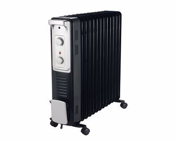 Picture of TORNADO Oil Heater 13 Fins, 2800 Watt For 28 meter In Black x Silver Color with 3 Heating Settings TOH-13