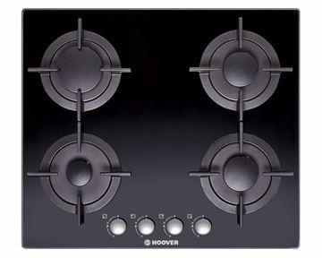 Picture of HOOVER Built-In Hob 60 x 60 cm 4 Gas Burners In Black Glass Color HGV64SCB