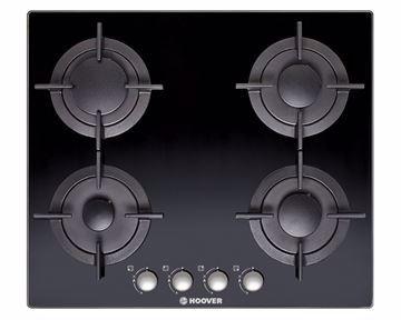 صورة بوتاجاز هوفر مسطح بلت إن 60 × 60 سم 4 شعلة غاز لون أسود زجاجي مزود بأمان كامل للشعلات HGV64SCB