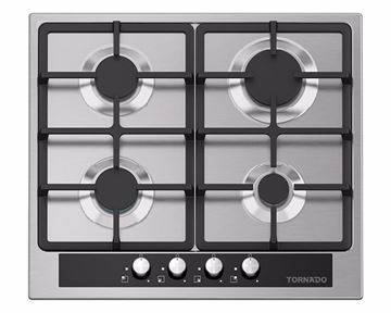 Picture of TORNADO Built-In Hob 60 x 60 cm 4 Gas Burners In Stainless Steel Color GHV-M60CSU-BK