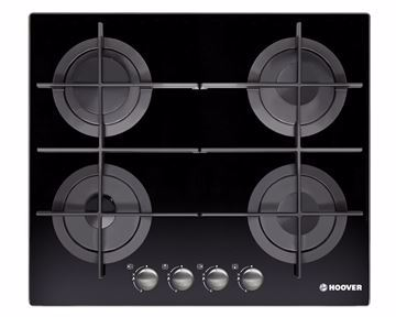 Picture of HOOVER Built-In Hob 60 x 60 cm 4 Gas Burners In Black Glass Color HGV64STCGB