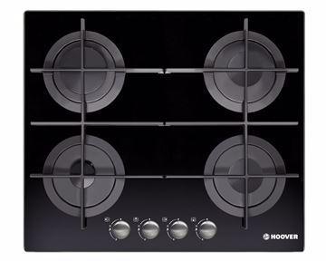 صورة بوتاجاز هوفر مسطح بلت إن 60 × 60 سم 4 شعلة غاز لون أسود زجاجي مزود بأمان كامل للشعلات HGV64STCGB