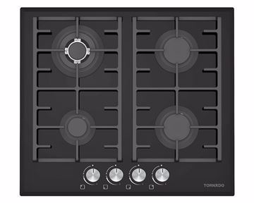 Picture of TORNADO Built-In Hob 60 x 60 cm 4 Gas Burners In Black Glass Color GHV-M60CCU-G