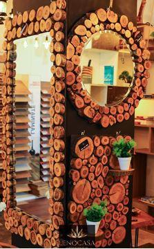 صورة مرايات خشب طبيعي