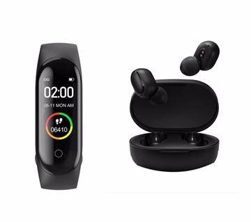 صورة سماعة ريدمي اير دوتس لاسلكية، بلوتوث 5.0 + Band M4 Smart Bluetooth Fitness Bracelet heart rate Calorie Sleep Tracker