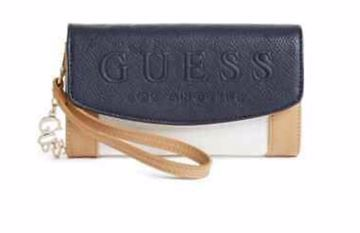 Picture of GUESS Women's Wallet Envelop Style *Navy Blue/Cream Multi Clutch
