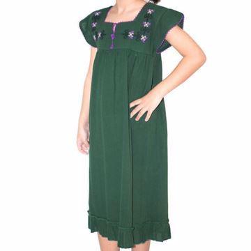 صورة فستان ميدي أخضر كلاسيك بناتي-مستورده