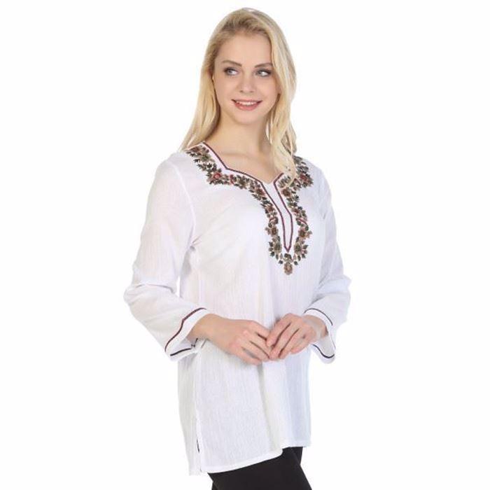 صورة بلوزة بيضاء بأكمام طويلة نسائية-مستورده