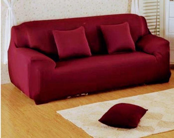 Sofa cover set, lycra material, four pieces, dark burgundy color